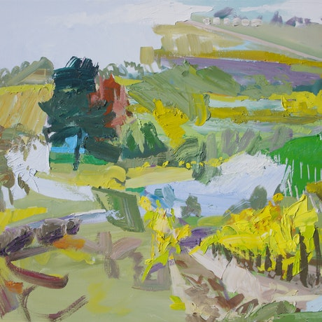(CreativeWork) Late Autumn Vines by Lise Temple. Oil Paint. Shop online at Bluethumb.