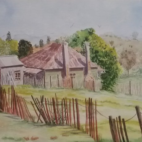 (CreativeWork) Cherishing the Past, Hill End   by Monika Scheffler. Watercolour Paint. Shop online at Bluethumb.