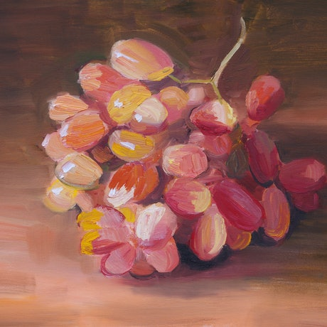 (CreativeWork) Grapes Study by Roland Weight. Oil Paint. Shop online at Bluethumb.