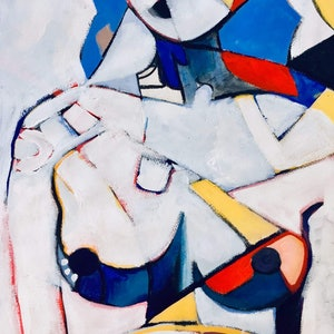 (CreativeWork) Abstract Nude - In a Mondrian Mood by Lee Wilde. arcylic-painting. Shop online at Bluethumb.