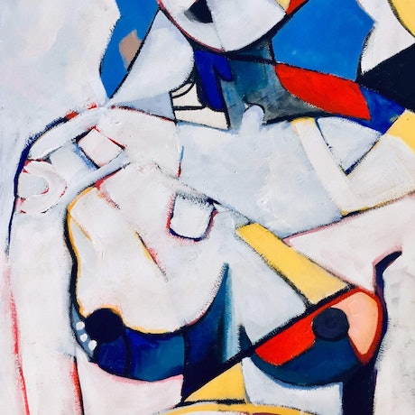 (CreativeWork) Abstract Nude - In a Mondrian Mood by Lee Wilde. Acrylic Paint. Shop online at Bluethumb.