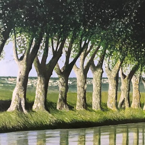 (CreativeWork) CANAL WITH TREES by LOUISE GROVE WIECHERS. arcylic-painting. Shop online at Bluethumb.