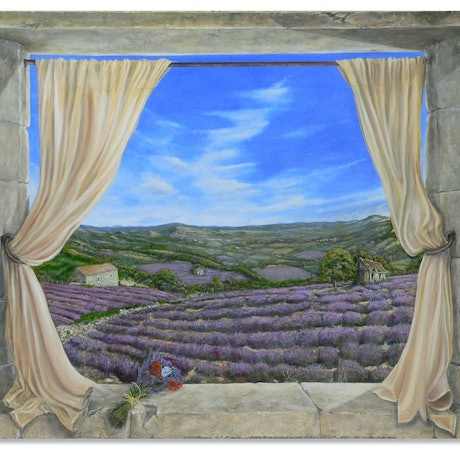 (CreativeWork) Lavender and Poppies by Gerard Maille. Oil Paint. Shop online at Bluethumb.