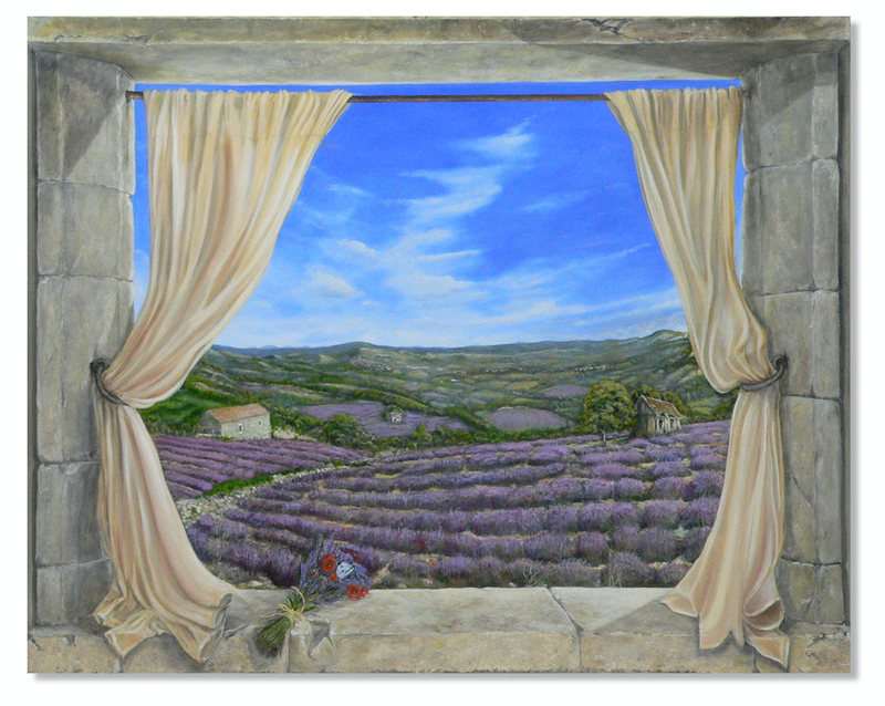 (CreativeWork) Lavender and Poppies by Gerard Maille. oil-painting. Shop online at Bluethumb.