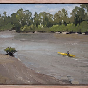 (CreativeWork) Brisbane river by Ekaterina Strounina. oil-painting. Shop online at Bluethumb.