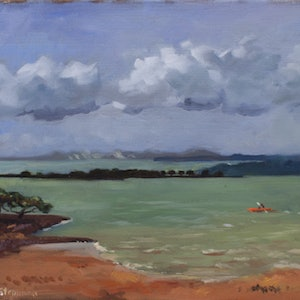 (CreativeWork) Redland Bay by Ekaterina Strounina. oil-painting. Shop online at Bluethumb.