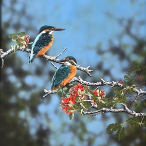 (CreativeWork) Azure Kingfishers 1 by Julie Sparks. acrylic-painting. Shop online at Bluethumb.