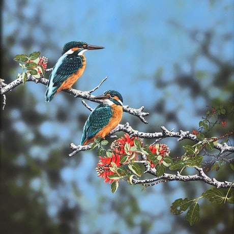(CreativeWork) Azure Kingfishers 1 by Julie Sparks. Acrylic Paint. Shop online at Bluethumb.