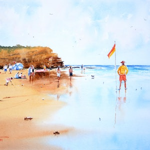 (CreativeWork) An Australian Summer by Chrysovalantou Mavroudis. Watercolour Paint. Shop online at Bluethumb.
