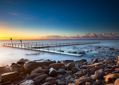 (CreativeWork) Newport baths sunrise by Piers Buxton. photograph. Shop online at Bluethumb.