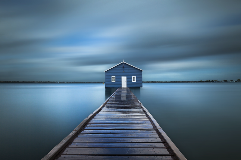 (CreativeWork) Crawley Edge Boatshed by Piers Buxton. photograph. Shop online at Bluethumb.