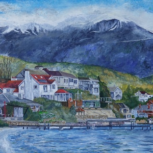(CreativeWork) Kunanyi from Sandy Bay by Christopher Johnston. arcylic-painting. Shop online at Bluethumb.