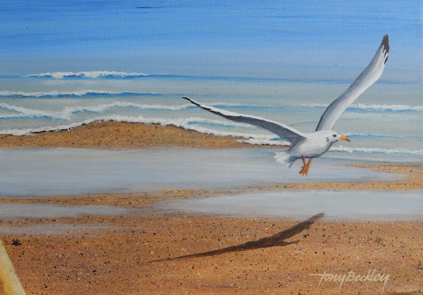 (CreativeWork) Bribie Island – Across Pumicestone Passage. QLD. by Tony Beckley. Acrylic Paint. Shop online at Bluethumb.
