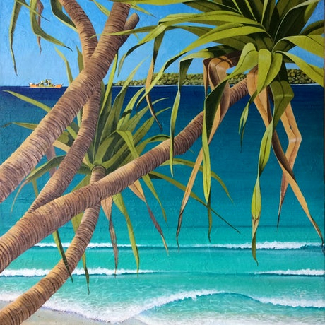 (CreativeWork) Inskip – Across to Fraser Island. QLD. by Tony Beckley. Acrylic Paint. Shop online at Bluethumb.