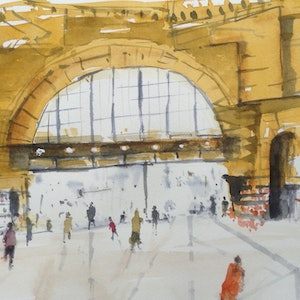 (CreativeWork) Lazy mid--day at Flinders Street Station by Bernd Rieve. watercolour. Shop online at Bluethumb.