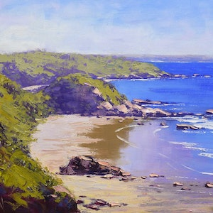 (CreativeWork) Low tide colours at Port Macquarie by Graham Gercken. oil-painting. Shop online at Bluethumb.