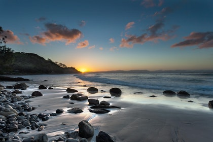 (CreativeWork) Wategos Sunset, Byron Bay by Piers Buxton. photograph. Shop online at Bluethumb.