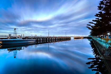 (CreativeWork) Port Albert reflections by Piers Buxton. photograph. Shop online at Bluethumb.