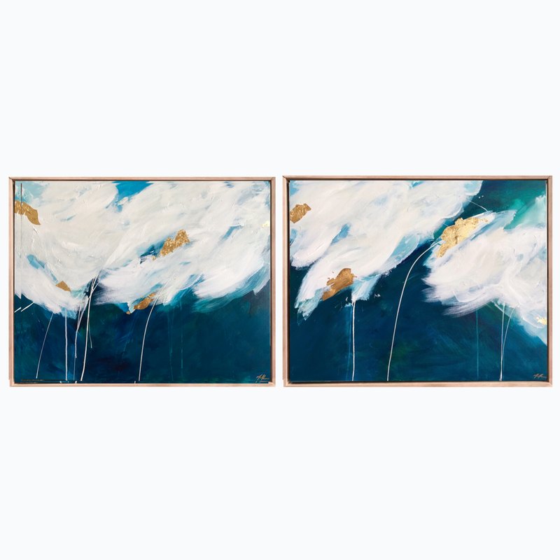 (CreativeWork) Aqua Crush Diptych  by Marnie McKnight. arcylic-painting. Shop online at Bluethumb.