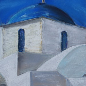 (CreativeWork) Churches of Santorini 01 by Gennadi Belousov. drawing. Shop online at Bluethumb.