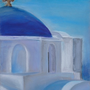 (CreativeWork) White churches of Santorini 02 by Gennadi Belousov. drawing. Shop online at Bluethumb.