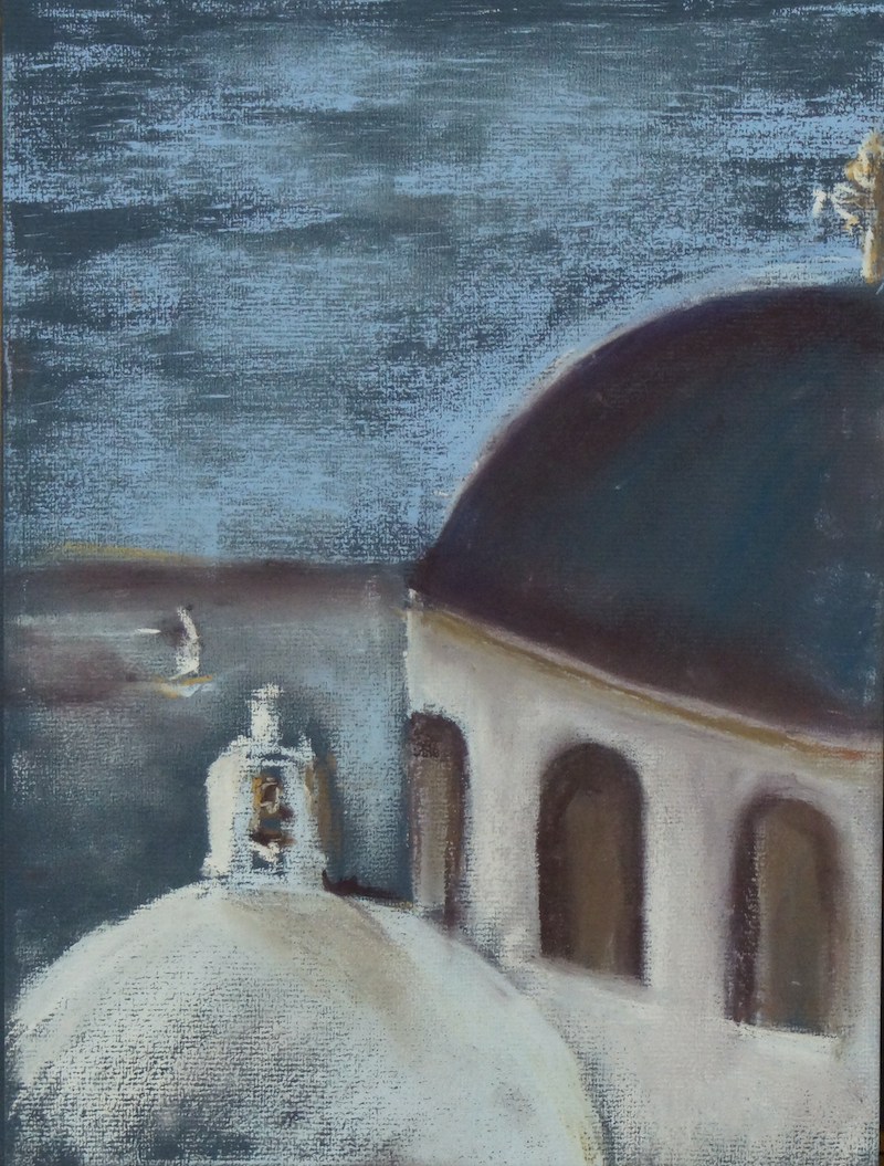 (CreativeWork) White Churches of Santorini 03 by Gennadi Belousov. drawing. Shop online at Bluethumb.