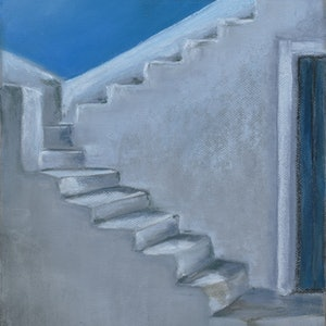 (CreativeWork) White steps of Santorini by Gennadi Belousov. drawing. Shop online at Bluethumb.