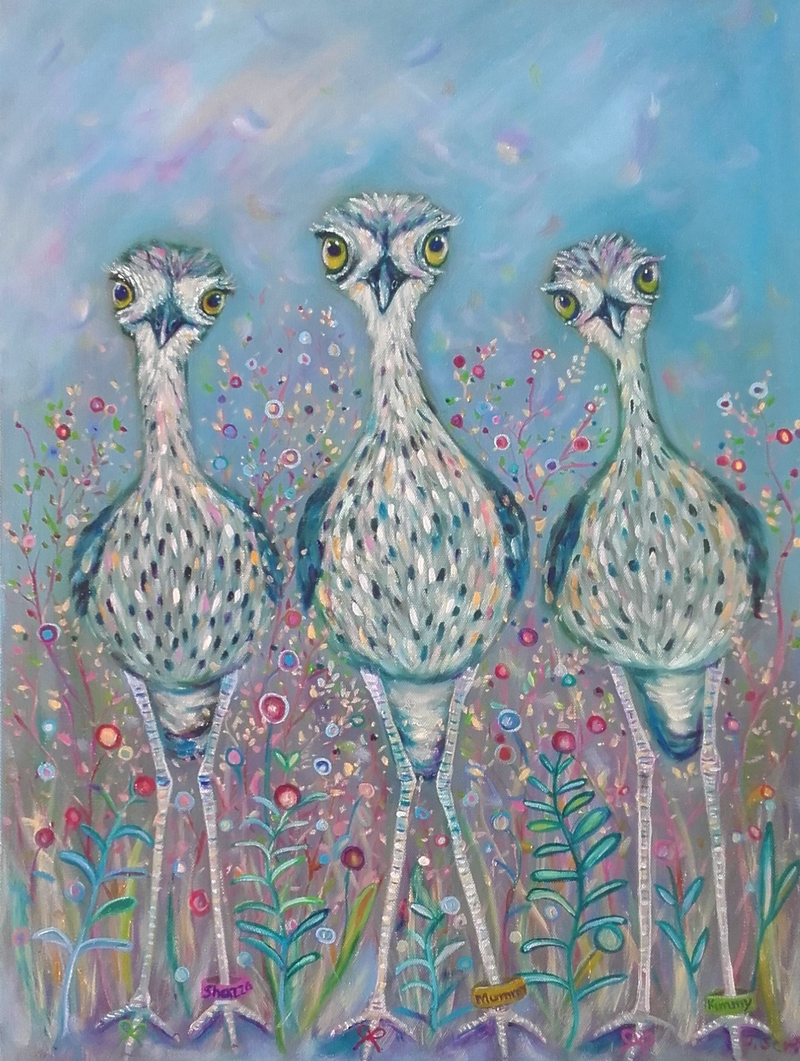 (CreativeWork) Mum and and the girls. by Joanne Scriha. oil-painting. Shop online at Bluethumb.