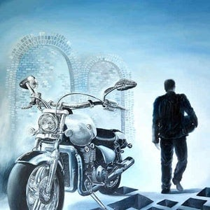 (CreativeWork) Man and his bike - Original Oil painting on canvas, ready to hang by Yelena Revis. oil-painting. Shop online at Bluethumb.
