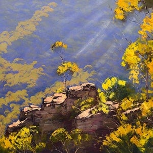 (CreativeWork) Above the valley floor by Graham Gercken. oil-painting. Shop online at Bluethumb.