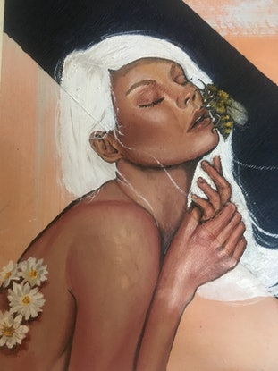(CreativeWork) Girl with Bee on her face by Madeline Gillies. Oil Paint. Shop online at Bluethumb.