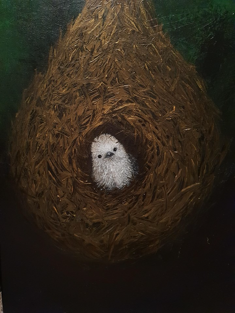 (CreativeWork) Peeking Out - Bird nest by Donna Lewis. acrylic-painting. Shop online at Bluethumb.