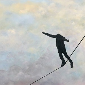(CreativeWork) Precarious by Donna Christie. oil-painting. Shop online at Bluethumb.