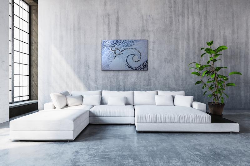 (CreativeWork) Grey Wave, hidden flower by . Callous. acrylic-painting. Shop online at Bluethumb.