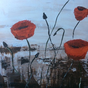 (CreativeWork) Tres Amapolas Valientes (three brave poppies) by . Callous. arcylic-painting. Shop online at Bluethumb.