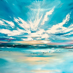 (CreativeWork) New Dawn   (large 153x102cm)   by Kat Las. arcylic-painting. Shop online at Bluethumb.