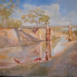 (CreativeWork) Look no water at Wilcannia. by roger harley. oil-painting. Shop online at Bluethumb.