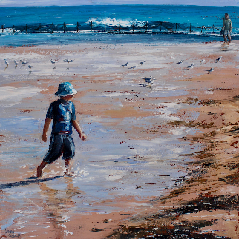 (CreativeWork) Newcastle Beach by Libby Cusick. acrylic-painting. Shop online at Bluethumb.