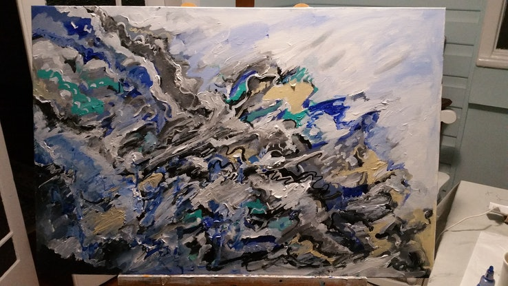 (CreativeWork) Thousand years of the sea by Tim Nash. Acrylic Paint. Shop online at Bluethumb.