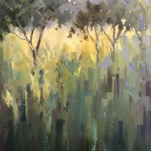 (CreativeWork) Olive groves by Vivi Palegeorge. oil-painting. Shop online at Bluethumb.