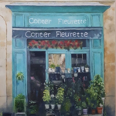 (CreativeWork) Conter Fleurette Bordeaux by Fred Whitson. oil-painting. Shop online at Bluethumb.