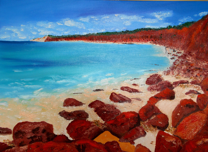 (CreativeWork) Fishing Somewhere by Sharon Robards. oil-painting. Shop online at Bluethumb.