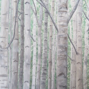 (CreativeWork) a field of silver birches by Fiona Farrugia. arcylic-painting. Shop online at Bluethumb.
