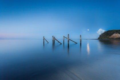 (CreativeWork) Flinders moonlit jetty by Piers Buxton. photograph. Shop online at Bluethumb.
