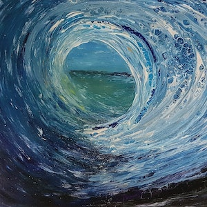 (CreativeWork) Engulfed - seascape wave by Donna Lewis. acrylic-painting. Shop online at Bluethumb.