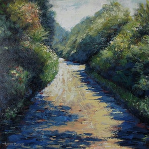 (CreativeWork) Sunlit Lane by Libby Cusick. acrylic-painting. Shop online at Bluethumb.