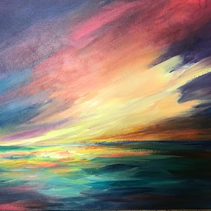 (CreativeWork) A blue and gold sunset by Ivana Pinaffo. arcylic-painting. Shop online at Bluethumb.