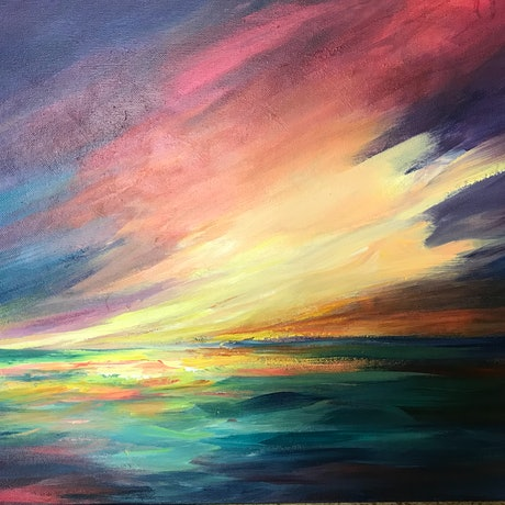 (CreativeWork) A blue and gold sunset by Ivana Pinaffo. Acrylic Paint. Shop online at Bluethumb.