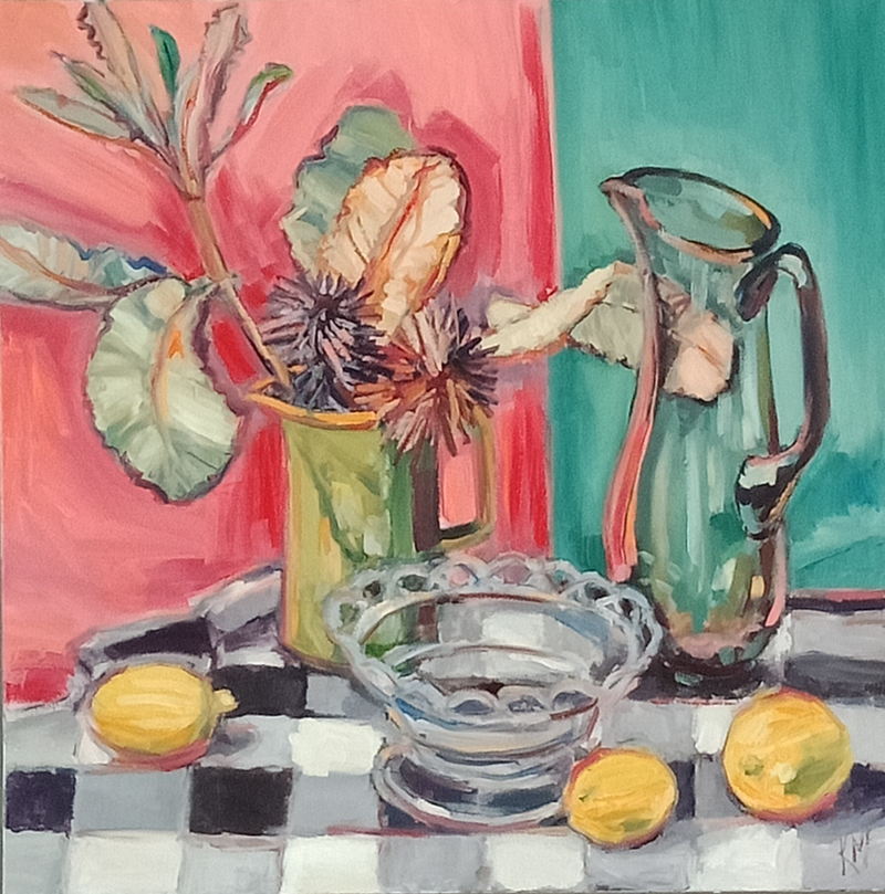 (CreativeWork) GLASS COMPOTE WITH LEMONS by Karen McPhee. oil-painting. Shop online at Bluethumb.