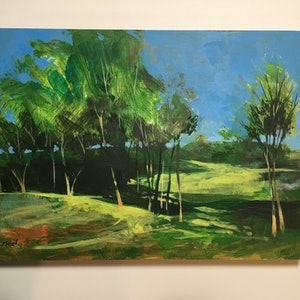 (CreativeWork) Dreamlike Tyalla Gumtrees in Paradise - painted in acrylics on Gesso primed timber panel by Scott Neil. arcylic-painting. Shop online at Bluethumb.